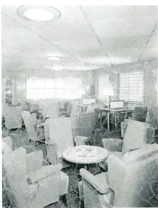 Bibliotheek van de Statendam IV van de Holland-Amerika Lijn. 1957