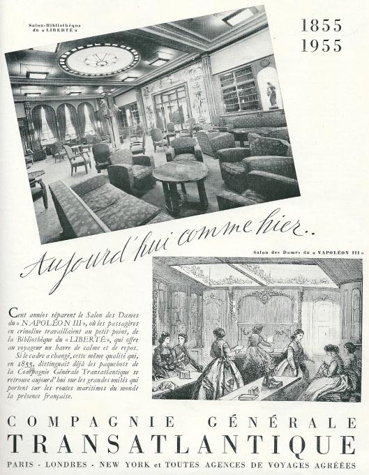 Reclame van Compagnie Générale Transatlantique met afbeelding van salon-bibliotheek van s.s. Liberté