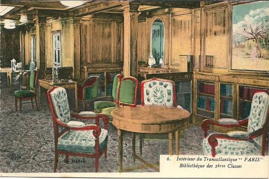 Interieur van transatlantische boot 'Paris' met bibliotheek eerste klasse