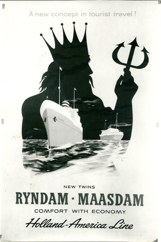 Engelstalige reclameplaat van Rijndam en Maasdam van de Holland American Line (los aangetroffen in een boek)