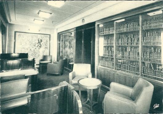Pakketboot 'Flandre', Compagnie Générale Transatlantique; leeszaal en schrijfruimte 1e klasse