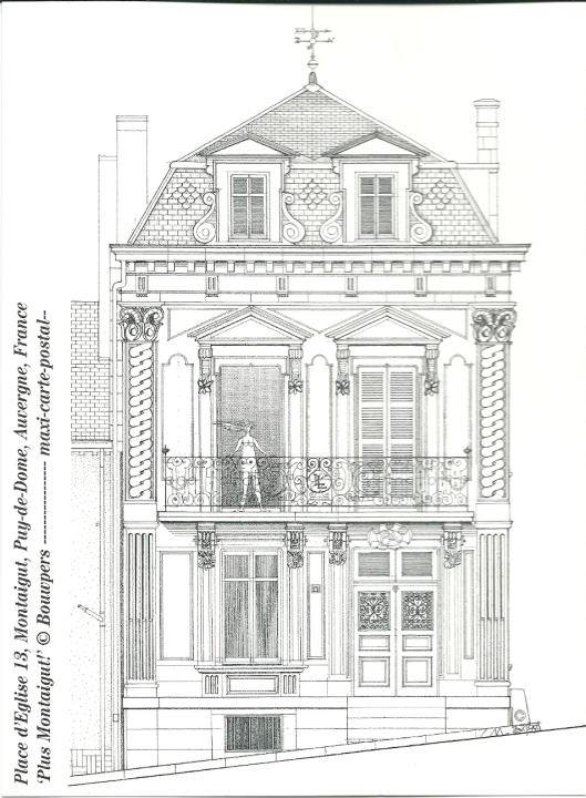 Als maxi-postkaart door Bent van Tongeren getekende en uitgegeven van het pand Place d'Eglise 13, Montaigut (Auvergne, Frankrijk_