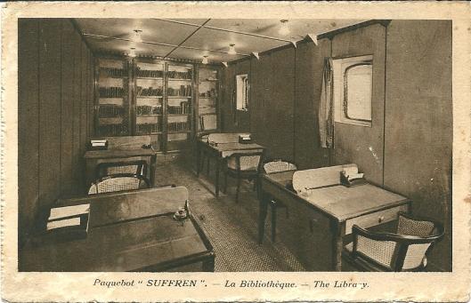 Pakketboot 'Suffren' , de bibliotheekruimte