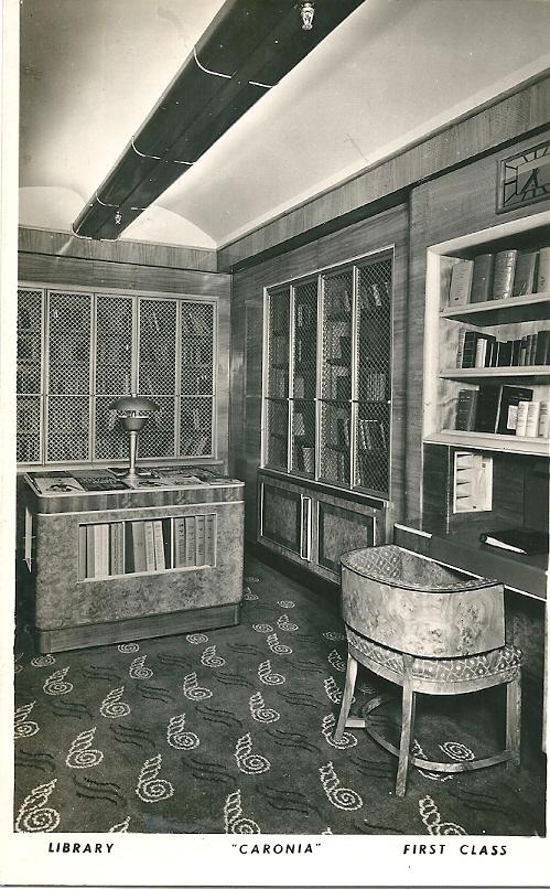 Stoomschip 'Cardonia', de bibliotheek voor passagiers eerste klasse