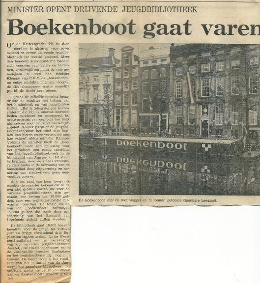 Artikel over de boekenboot uit Het Parool van 18 december 1970