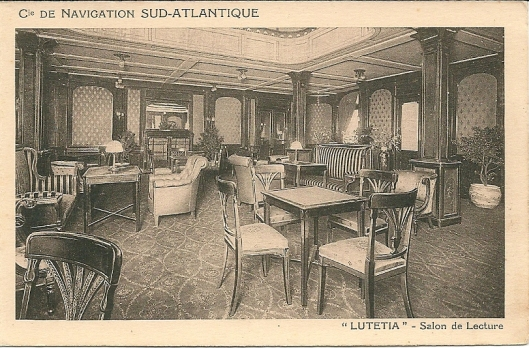 Leessalon van de 'Lutetia' , Compagnie de Navigation Sud-Atlantique