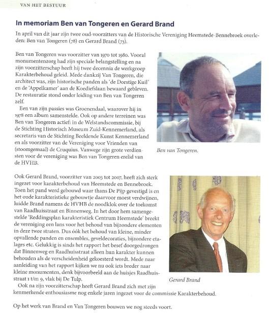 In memoriam Ben van Tongeren en Gerad Brand. Bericht uit: Heerlijkheden, nummer 157, zomer 2013, blz. 46.