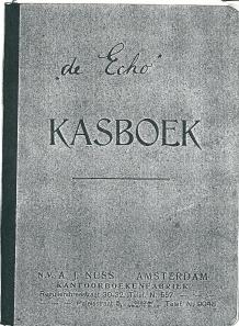 Voorzijde van het kasboek van 'de Echo'