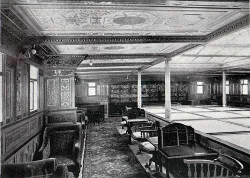 Bibliotheek op stoomschip 'Teutonic' (1889), van de White Star L:ine, in 1845 opgericht in Liverpool