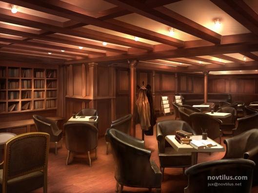 Schilderij van de bibliotheek op de Titanic
