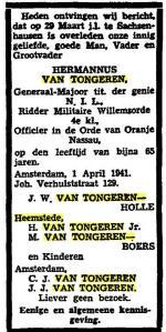 Rouwadvertentie van vader Hermannus van Tongeren. Uit: Het Vaderland, 2-4-1941