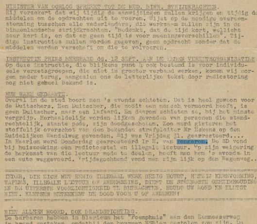 Geen advertentie bij de dood van Herman van Tongeren (vader van Ben van Tongeren) in de reguliere pers, wèl een bericht in de toen 'illegaal' geheten pers in Vrij Nederland-nieuws van 13 september 1944.