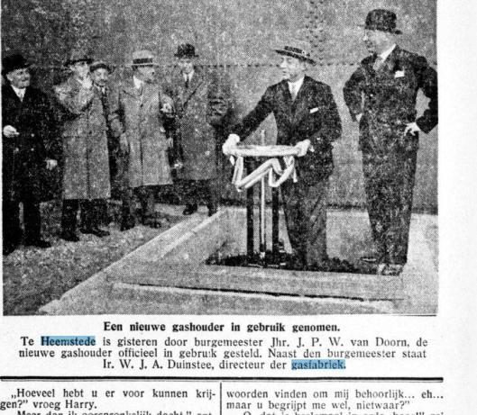 De derde gashouder werd in 1933 officieel in gebruik genomen door burgemeester Van Doorn (Gooi- en Eemlander, 11-1-1933)