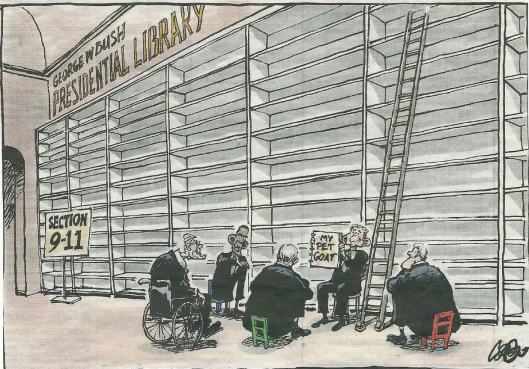 Cartoon van George Bush Presidential Library door Jos Collignon uit de Volkskrant