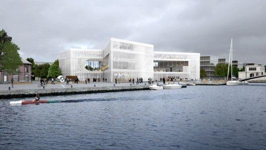 Ontwerp van de nieuwe gemeentelijke openbare bibliotheek van Caen, naar een ontwerp van OMA, eind 2016 te openen voor het publiek
