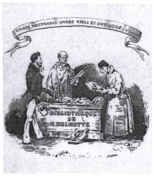Cartoon van privébibliotheek Henri-Florent Delmorte (1778-1836). Hij was stadsbibliothecaris en archivaris van Mons (Bergen) en eerste president van de Société des Bibliophiles