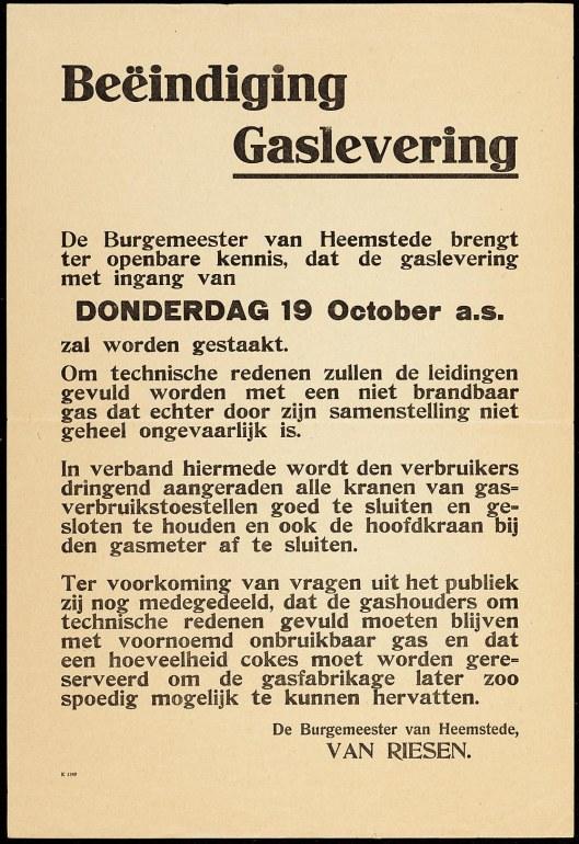 Bekendmaking van tijdelijke beëindiging gaslevering in Heemstede met ingang van 19 oktober 1944 door NSB-burgemeesterVan Riesen