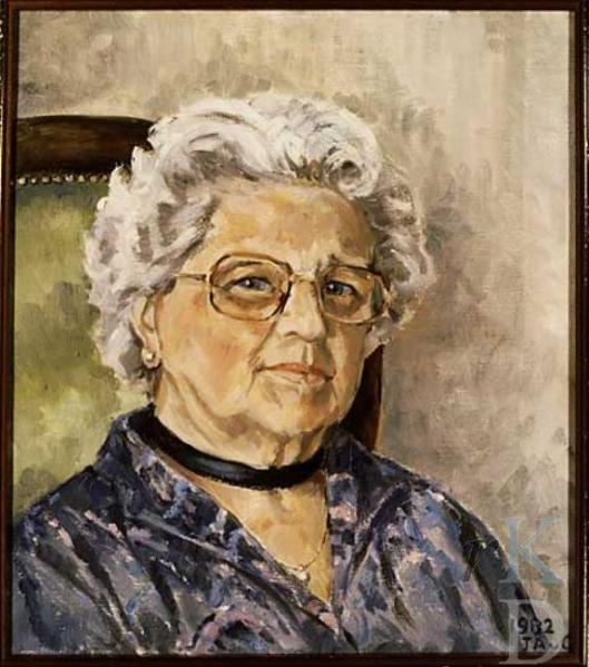 Geschilderd (anoniem) portret uit 1982 van mw. Maria Gazan, gehuwd geweest zijnde mer C.R.de Veer en vervolgens J.C.Scheffer. Zij was erelid van de Nederlandse Protestanten Bond Heemstede (foto RKD; doek in bezit van collectie HVHB)