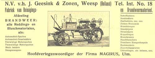 Opgericht in 1875 bestaat het bedrijf Geesink uit Weesp in 1913 nog altijd, tegenwoordig enkel voor afvaltransport