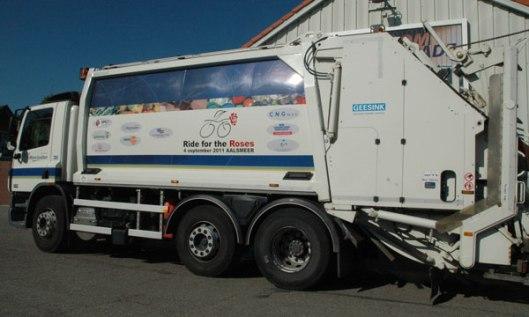 Eigentijdse wagens van Geesink zoals in gebruik bij de Meerlanden, in 2011 hoofdsponsor voor 'Ride for the Roses' ten gunste van KWF Kankerbestrijding