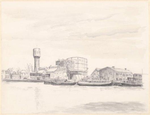 Gezicht op de haven van Heemstede. Tekening door Arno Hendrik Dijkstra (1899-1996) (NHA)
