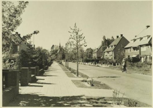 Weg in 1938 aangelegd door de gemeente Bloemendaal. De meeste huizen zijn eind jaren 30 ontworpen door Huib Tuninga, nrs 1-11 en 8-18. Foto uit 1999 (NHA)