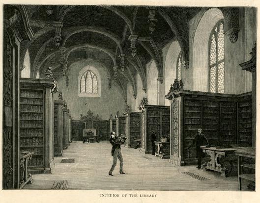 De Lambeth Library op een 19e eeuwse gravure