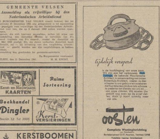 Advertentie uit Beverwijksche Courant Kebnnemerland van 13 december 1941 betreffende verbouwing winkelpand Oosten in de Barteljorisstraat