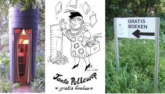 Tante Pollewop voor gratis ruilboeken bevindt zich in het Limburgse Horst, Meterikseweg 153