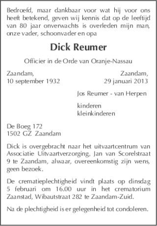 Overlijdensbericht Dick Reumer