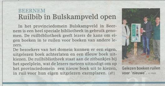 Ruilbibliotheek in Beernem, België. Uit Gazet van Antwerpen 2014