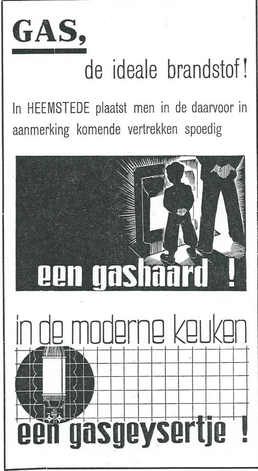 Advertentie gas uit: Gids voor Heemstede 1937