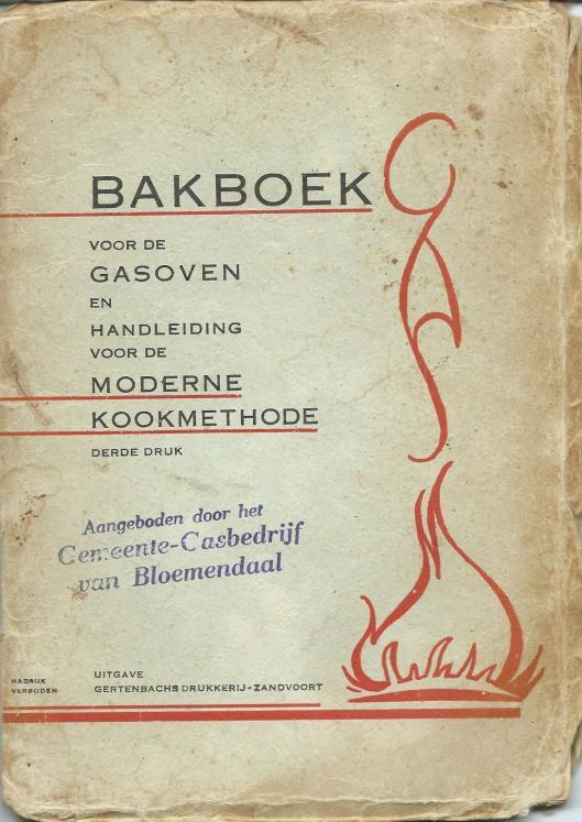 In 1938 bood de directie van het gasbedrijf Bloemendaal aan ale deelnemers een bakboekje met recepten voor de gasoven aangeboden. De prijs van het gas was dat jaar gesteld op 6 cent per kubieke meter.