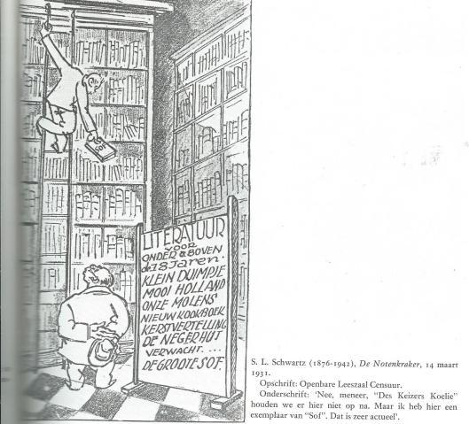 Openbare Leeszaal Censuur. Cartoon door S.L.Schwartz uit De Notenkraker, 14 maart 1931.