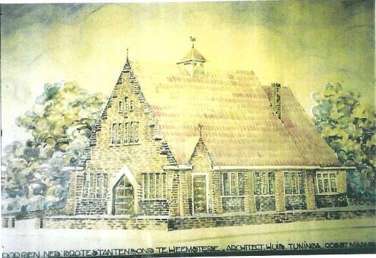 Ontwerptekening van Huib Tuninga voor pand van de Ned. Protestantenbond Heemstede
