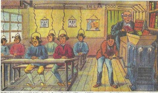 Online groepsles avant la lettre. De Volkskrant, 1 juni 2013. Illustratie door de Frans man Villemard uit 1910 (beeld: Bibliothèque Nationale de France)