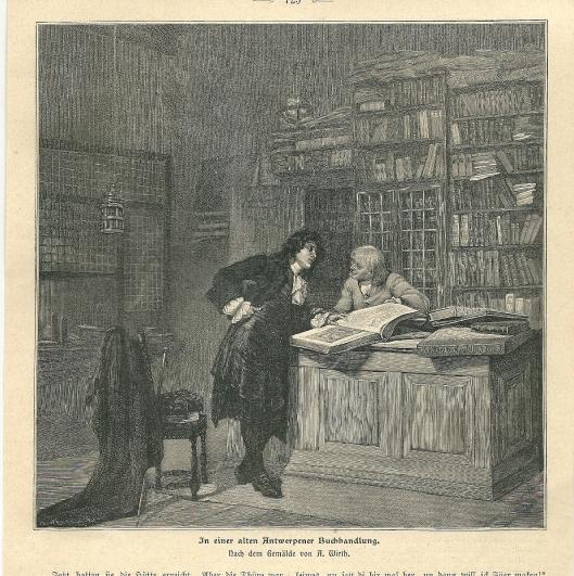 Gravure van een oude Antwerpse boekhandel; naar een schilderij van A.Wirth