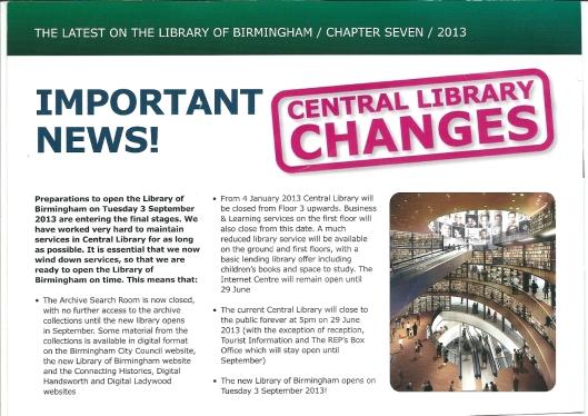 De nieuwe bibliotheek van Birmingham opent op 3 september 2013