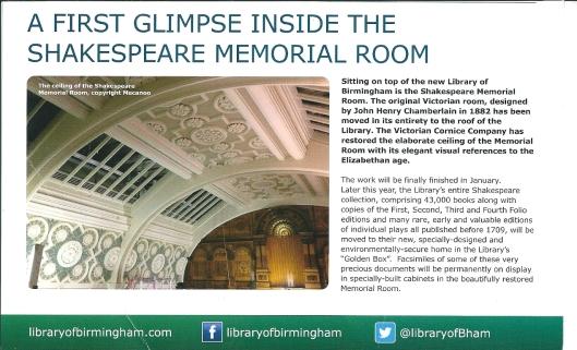 De Shakespeare Memorial Room verhuist intwegraal van het oude naar het nieuwe bibliotheekgebouw in Birmingham