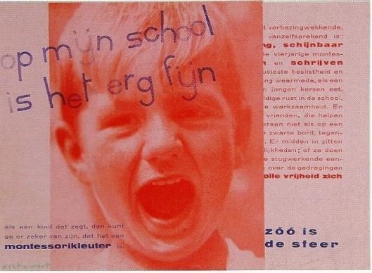 Uit een brochure in 1937 door Piert Zwart ontworpen voor de Montessorischool in Haarlem