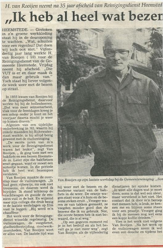 Artikel over afscheid bij de Reinigingsdienst Heemstede van H.van Rooijen. Uit: Haarlems Dagblad van 27-9-1990
