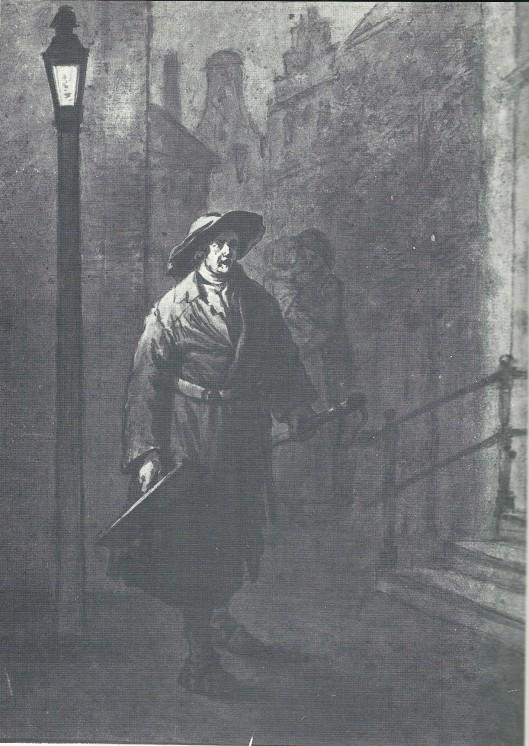 Illustratie van: De klepperman bij olielicht die tussen 24 en 25 juli zijn laatste oproep heeft gedaan, tekening door Wybrand Hendrik uit Noord-Hollands Archief (boek Haarlem bij gaslicht, pagina 38).