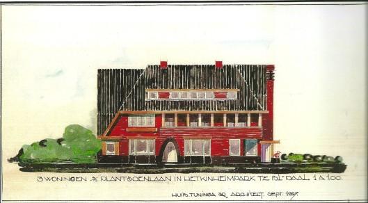 Presentatieontwerp voor de woningen Plantsoenlaan nrs. 19, 21 en 23 door architect H.Tuninga (Publieke Werken Bloemendaal, dossier nr.61)