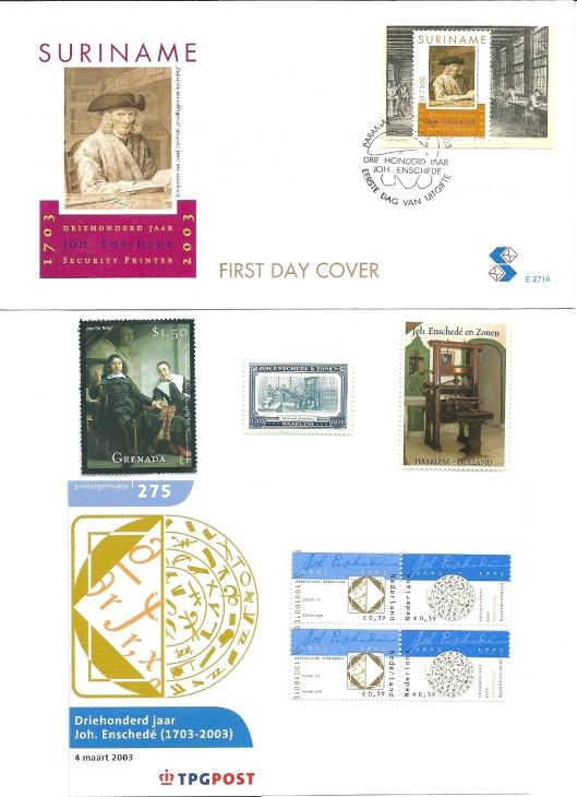 Enkele post- en sluitzegels van de firma Joh. Enschede & Zn. Midden links een postzegel van Grenada met op een schilderij uit het Rijksmuseum Amsterdam courantier Abraham Casteleyn en zijn echtgenote Castelyn was in 1656 oprichter van de 'Weeckelycke Courante van Europa', de latere 'Oprechte Haerlemsche Courant'