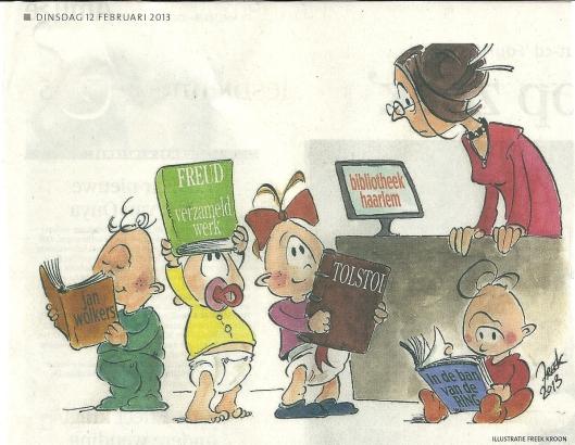 Illustratie van Freek Kroon in het Haarlems Dagblad bij een artikel 'Bieb mikt op de allerjongsten' in het Haarlems Dagblad van 12 februari 2013