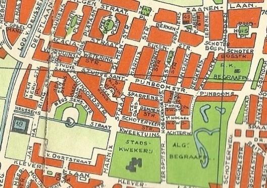 De Bomenbuurt op een kaart van Haarlem uit 1955