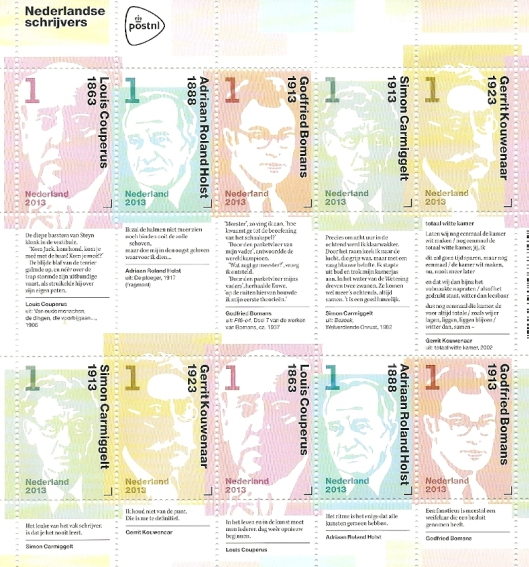 Velletje postzegels van letterkundigen, o.a. Godfried Bomans