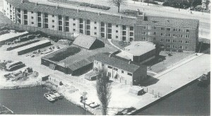 Panorama van 'de Olijftak', in 1956 dankzij de (Doopsgezinde) Gallenkampstichting in gebruik genomen. Lag ten westen van de gasfabriek/gemeentewerf, begrensd door de Heemsteedse Dreef.