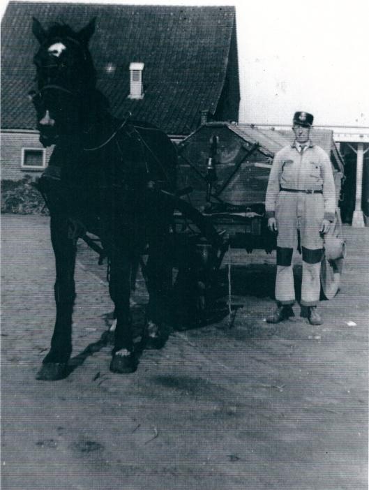 J.Kramer (?) poserend met paard en ophaalwagen