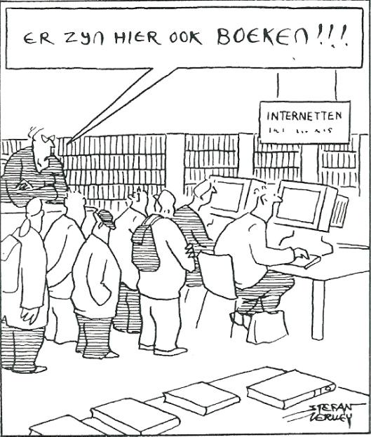 Cartoon van Stefan Verwey, vervaardigd ter gelegenheid van het 10-jarig bestaan van Bibliotheek De Mariënburg in Nijmegen 2000-2010